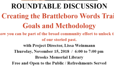 November Roundtable Discussion: Creating the Brattleboro Words Trail